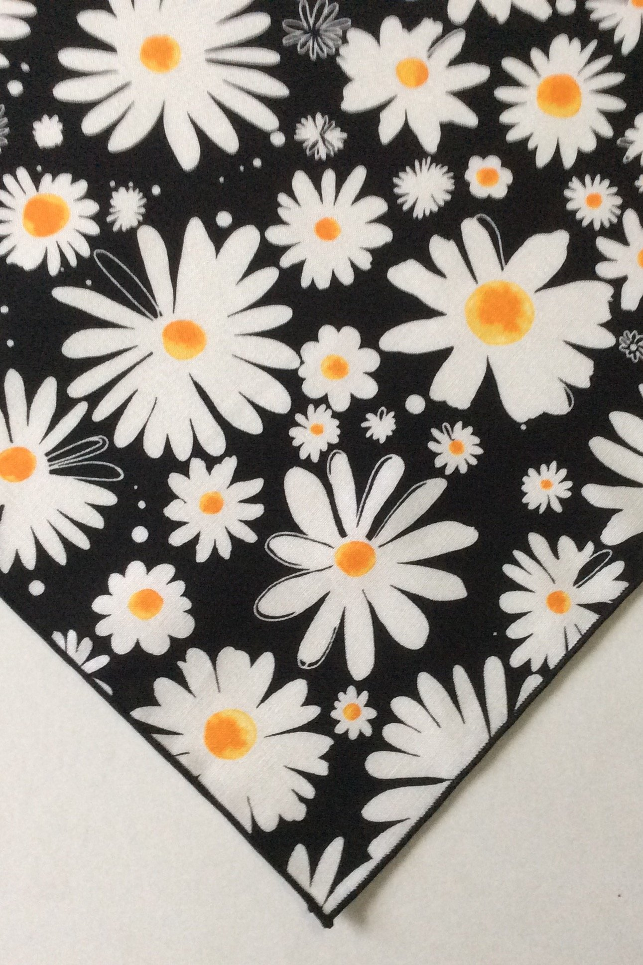 Daisies on Black Bandana