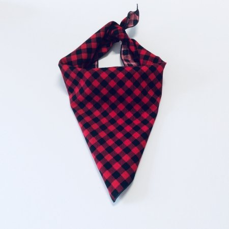 Red Plaid Print Dog Bandana