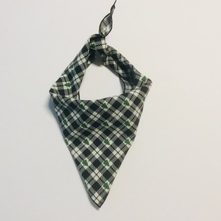 Christmas Tree Black Plaid Dog Bandana